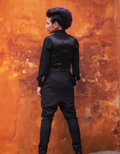 Panel vest, cufflink shirt & drop crotch pants