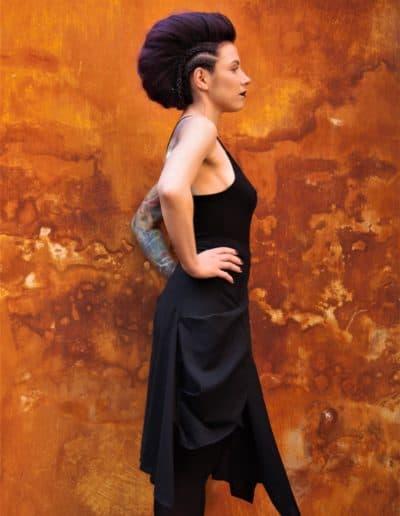 Ring top & draped skirt
