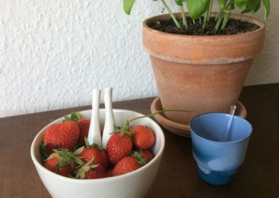 Legs bowl strawberries