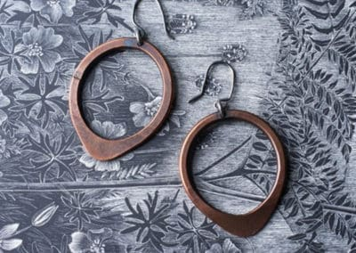 Teardrop earrings copper