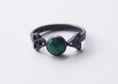 Triangle ring with stone